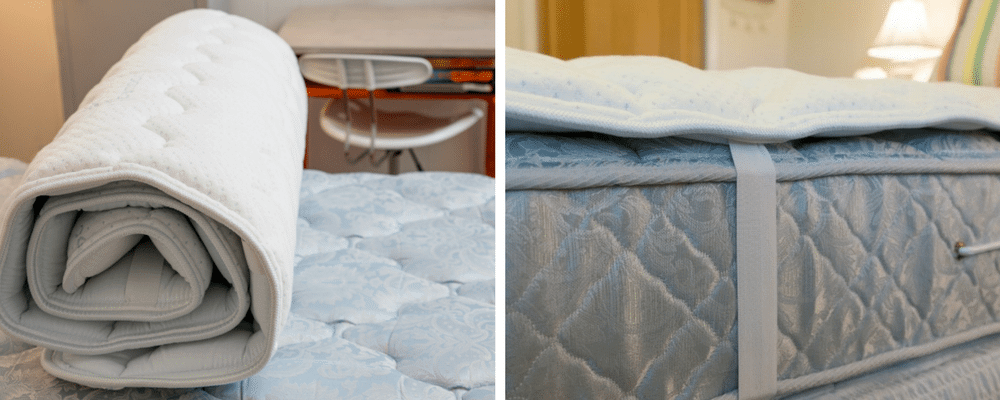 Beloit Mattress Topper Before And After Putting It On A Dorm Bed - Beloit's mattress topper reviews are awesome!